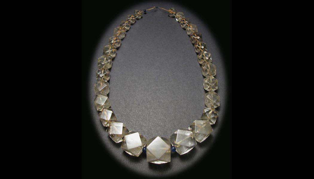 Quartz Crystal & Blue Glass Necklace