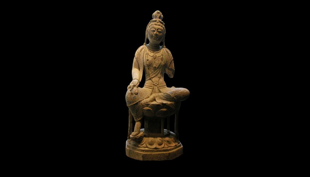 Limestone Seated Bodhisattva
