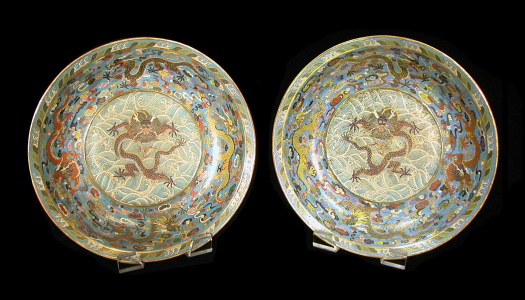 Important pair of Imperial Cloisonne Bowls