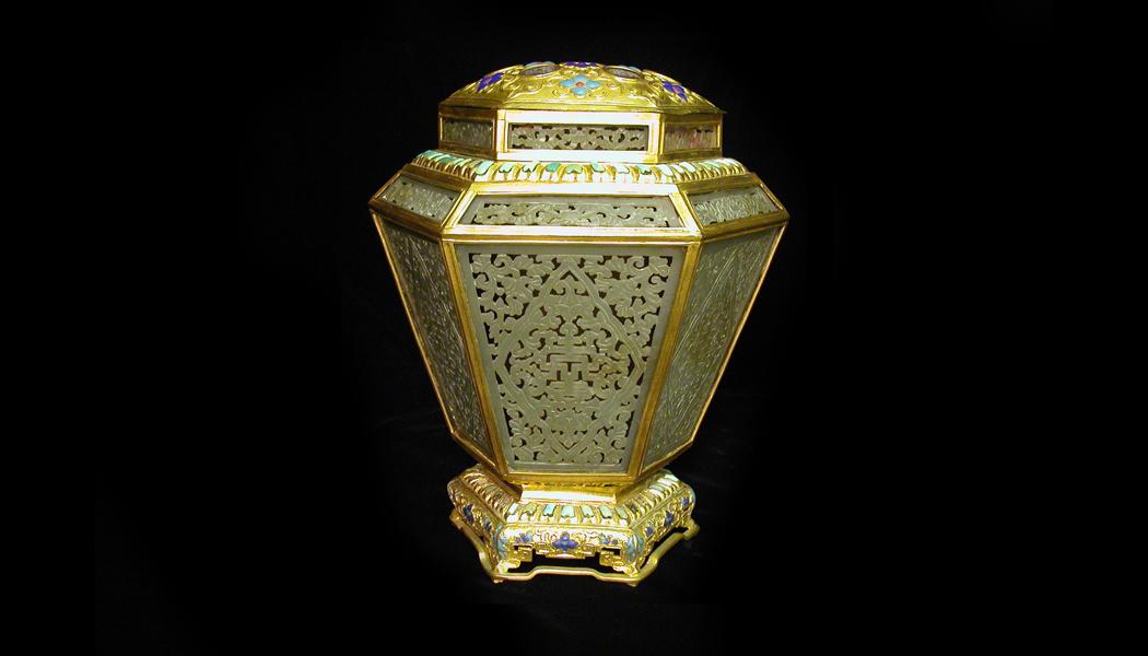 Hexagonal Gilt-Bronze Vase With Jade Insets
