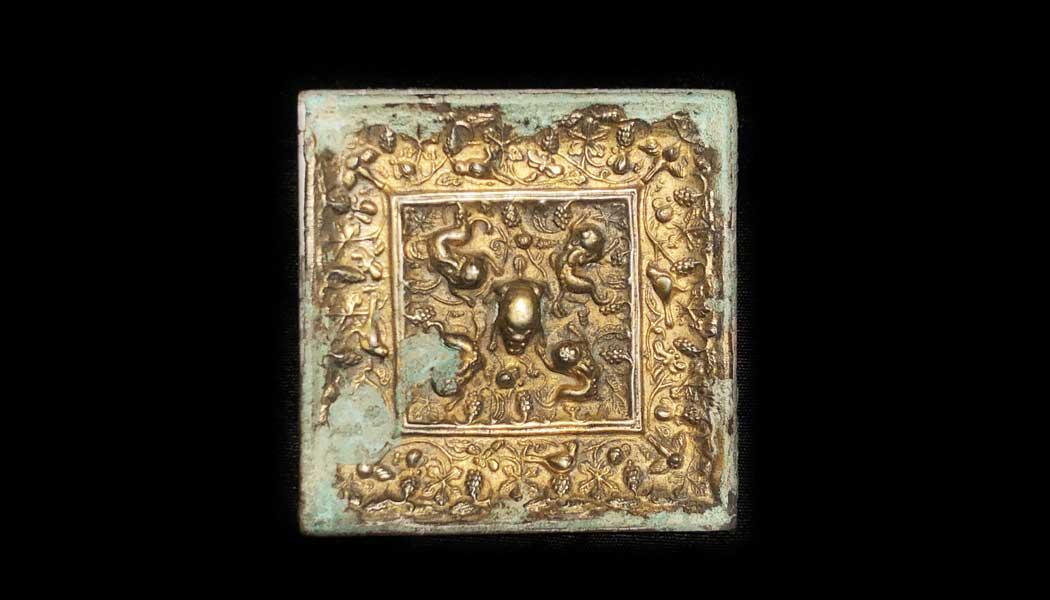 Square Gilt Gold & Bronze Mirror