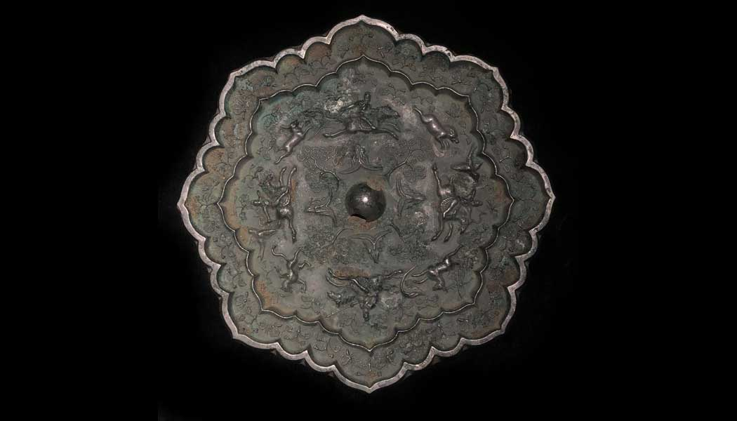 Double Eight Lobed Silvered Mirror Depicting Archers Hunting
