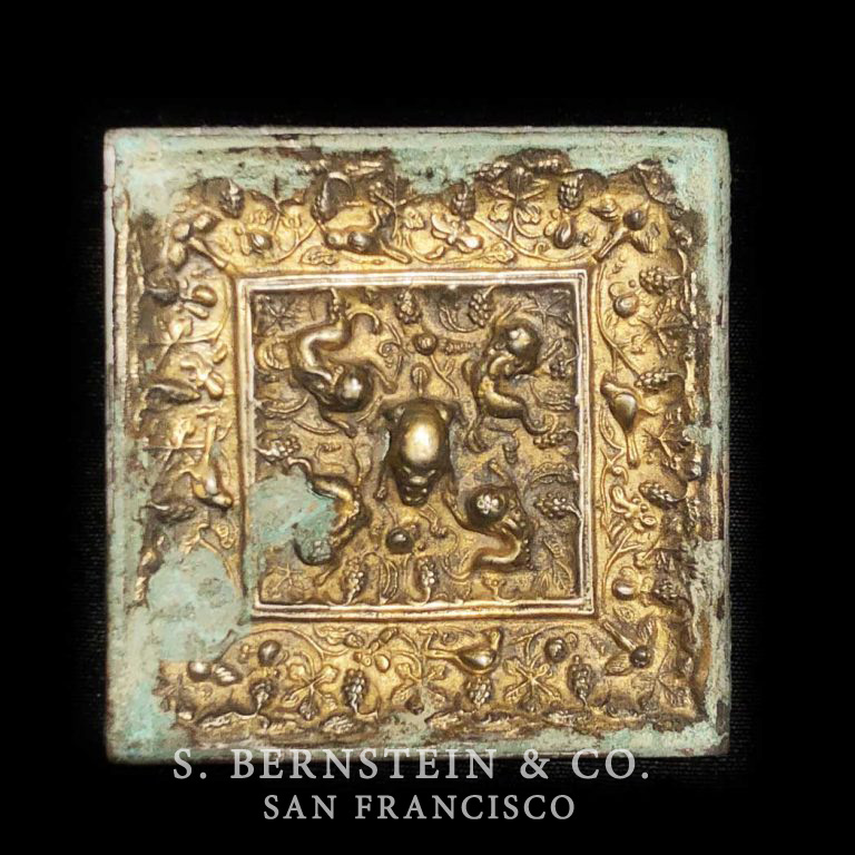 Square Gilt Gold & Bronze Mirror