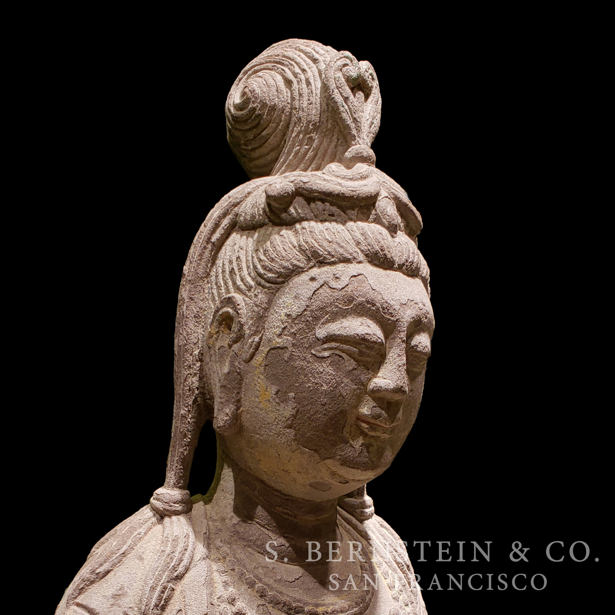 Tang Dynasty Limestone Seated Bodhisattva