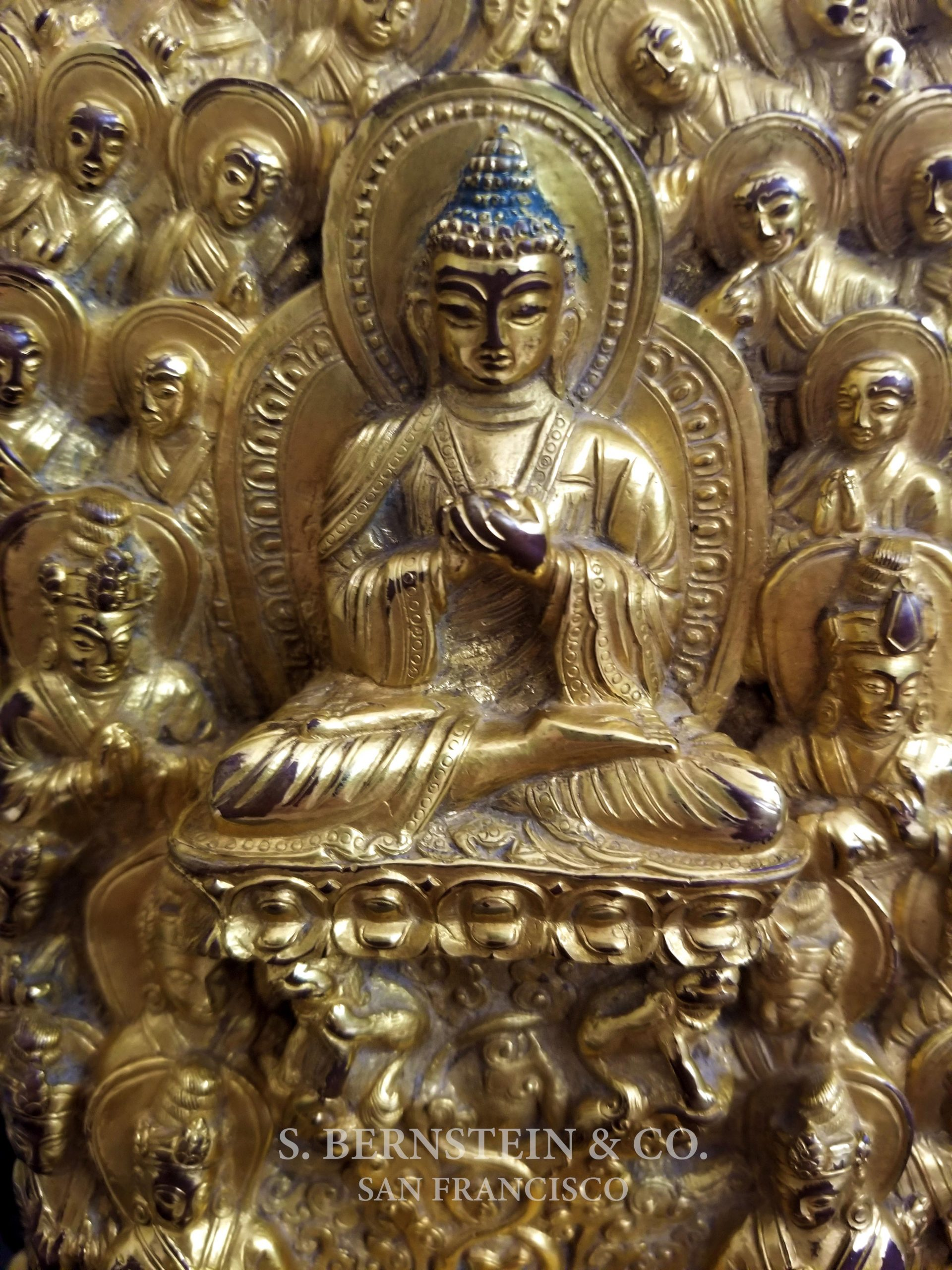 Gilt Gold Bronze Figure of the Buddha Surrounded by Immortals